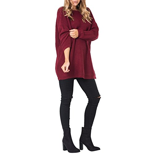 Shinieny Women Solid Back V-line Knitted Long Sleeve Pullover Top Sweater Dress