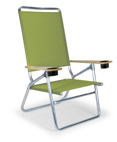 Telescope Casual Light and Easy High Boy Folding Beach Arm Chair with Cup Holders, Lime