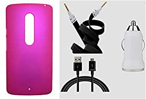 Toppings Hard Case Cover With Car Charger,Data Cable & Aux CableMotorola Moto X Play - Pink