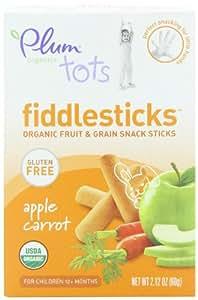 Plum Organics Tots Fiddlesticks Snack Sticks, Apple Carrot, 2.12-Ounce Boxes (Pack of 6)