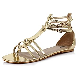 Gold Roman Sandal Womens Shoes Gladiator Flat Shoe Theatre Costumes Accessory Size: 9