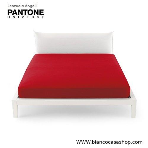 Lenzuolo Sotto con angoli MATRIMONIALE Bassetti PANTONE Universe Var.1198 Ribbon Red (Rosso scuro)