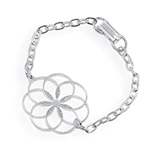 7 Rings of Peace silver dipped link bracelet