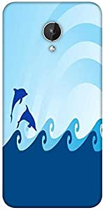 Snoogg Sea Wave And Dolphin On Blue Background Designer Protective Back Case Cover For Micromax Canvas Spark Q380