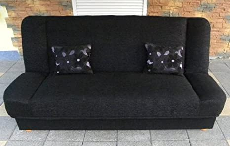 Black Sofa Bed Maddy with bedding place and 'clic-clak' mechanism. Any colors