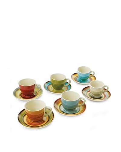 Villa D'Este Home Tivoli Set 6 Tazzine Caffe' Con Piattino Atlantique [Multicolore]
