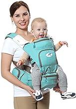 Portabebés multifuncional 8 en 1 con asiento de cadera y canguro. El mejor y más suave portabebés para posición frontal y trasera / bebé de frente o de espaldas - Hacia adelante y hacia afuera para bebés y niños pequeños de entre 3 y 36 meses, Verde