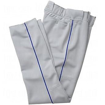 Mizuno Men's Premier Full Length Relaxed Piped Pant (Grey-Royal, X-Large)