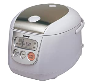 Sanyo ECJ-D100S 10-Cup Micro-Computerized Rice Cooker/Steamer, White with Stainless Accent