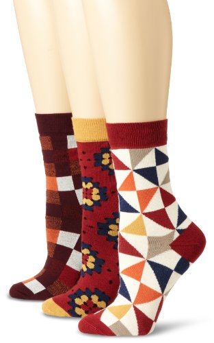 PACT Womens Three-Pack Fun Crew Socks