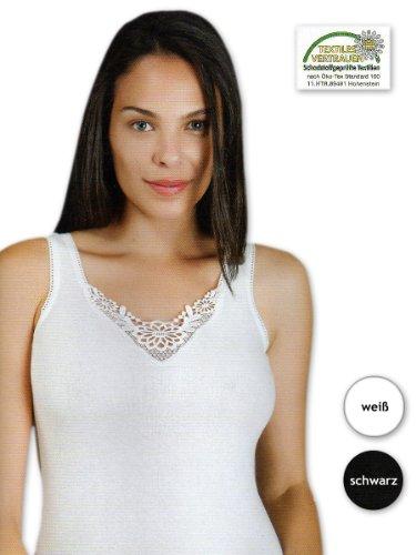 2 bis 10 Damen Hemden mit Spitze Unterhemden 100% Baumwolle - Breite Träger (M / 40-42, Schwarz / 2 Stück)