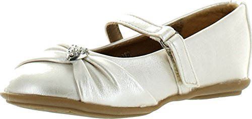 Little Angel Girls Kammi-191D Leatherette Mary Jane Velcro Heart Pendant Ballerina Flat crooked little heart