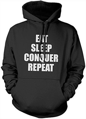 Eat Sleep Conquer ripetere-Felpa con cappuccio
