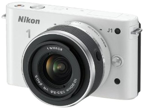 Nikon 1 J1 Compact System Camera with 10-30mm Lens Kit - White (10.1MP) 3 inch LCD