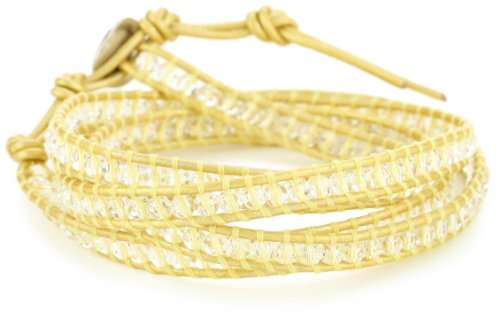 Chan Luu Swarovski Crystals On Gold Leather Wrap Bracelet