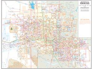 Metropolitan phoenix zip code arterial and collector streets wall map