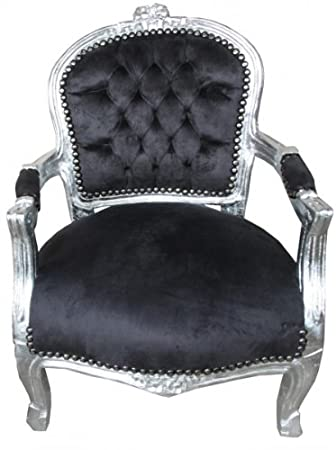 Casa Padrino Baroque Salon Chair Black / Silver - Children's Furniture
