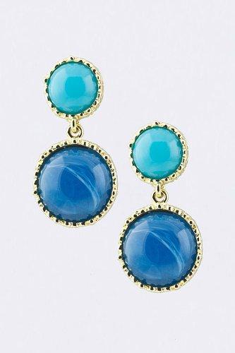 Baubles & Co Faux Marble Dangle Earrings (Blue/Lt Blue)