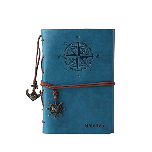 Leather Writing Journal Notebook, MALEDEN Classic Spiral Bound Notebook Refillable Diary Sketchbook Gifts with Unlined Travel Journals to Write in for Girls and Boys (Sky Blue) (Kids New York Journal compare prices)