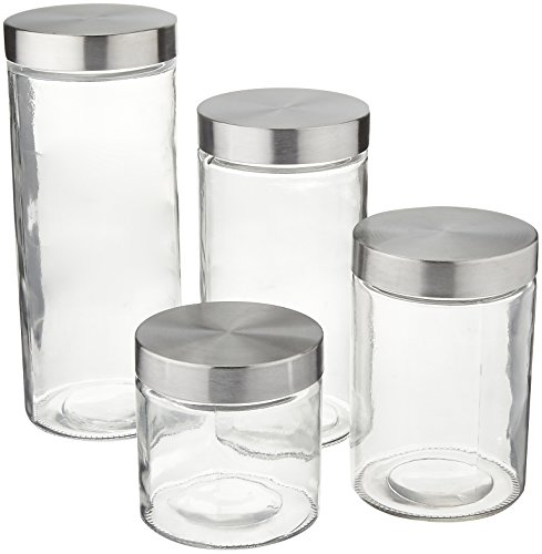 Anchor Hocking Callista 4 Piece Glass Canister Set with Stainless Steel Lids (Glass Containers For Pasta compare prices)