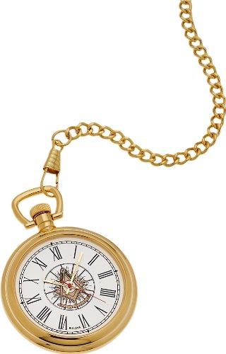 Bulova Gold Plated Masonic Past Master Pocket Watch and Matching Chain