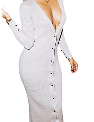 YeeATZ Button up Ribbed Midi Cardigan Dress(White ,S)