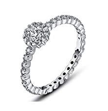 buy Luxury All-Rings Claw Set Cubic Zirconia Engagement Wedding Rings For Women,Platinum Plated Gold