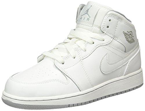 Nike Jordan Kids Air Jordan 1 Mid Bg White/White/Wolf Grey Basketball Shoe 7 Kids US
