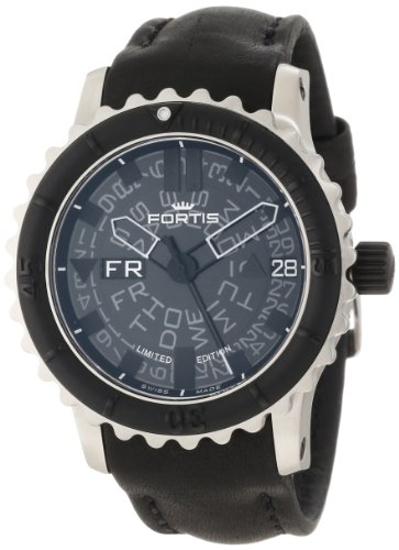 Fortis Men's 675.10.81 L.01 B-42 Big Black Automatic Rotating Bezel Leather Watch