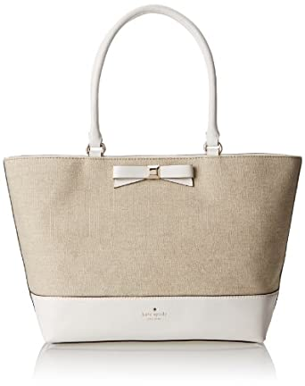 kate spade new york Holly Street Fabric Francis Shoulder Bag,Natural/Bright White,One Size