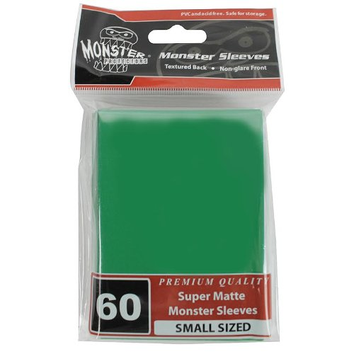 Sleeves - Monster Protector Sleeves - Smaller Size Flat Matte - Green (Fits Yugioh and Other Smaller Sized Gaming Cards) - 1