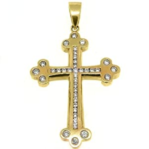 14k Yellow Gold Round Diamond Cross Pendant 2.80 Carats