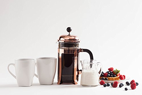 Caf-Crush-Club-French-Press-Classic-Plated-Steel-Heat-Resistant-Glass-Coffee-Tea-Maker-Avignon-C-Stainless-Plunger-with-Double-Screens-2-Replacements-Grounds-Scoop-34oz1000ml-Carafe