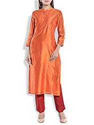 Tagaai Women's Silk Cotton Long Kurta Orange - X-Large