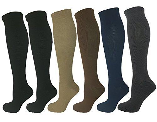 6 Pairs Knee High Graduated Compression Socks For Women and Men - Best Medical, Nursing, Travel & Flight Socks - Running & Fitness - 15-20mmHg (S/M, Assorted 2)