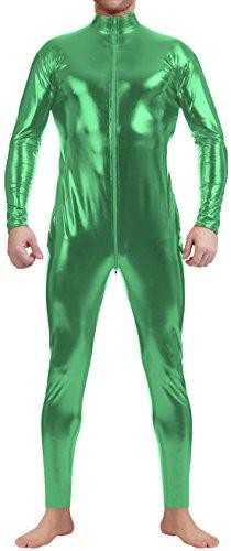 [Marvoll Unisex Shiny Metallic Unitard Bodysuit for Kids and Adults (Medium, Green)] (Green Man Body Suit)