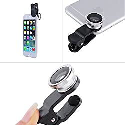 KARP Universal 3 in 1 Cell Phone Camera Lens Kit - Fish Eye Lens / 2 in 1 Macro Lens & Wide Angle Lens / Universal Clip with Microfiber Carrying Bag - Silver Color