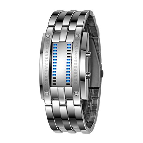 Soleasy Hot Low Price Led Electronic Men Women Stainless Steel Blue Binary Led Displayer Sports Wristwatch-White Wth0741