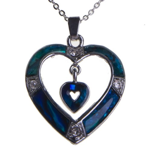 Best Abalone Paua Shell Blue Heart Necklace Pendant Silver Chain Gift For Mothers Day Valentines Christmas- Buy Now Deal Of The Day Sale - Satisfaction Guaranteed
