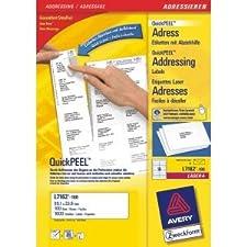 Avery zweckform paquet d'étiquettes l/7162-100 99,1 x 33,9 mm blanc inh.1600