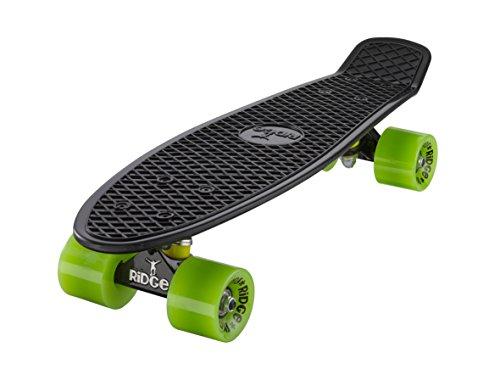 Ridge Mini Cruiser Skateboard Edizione Limitata Collezione, Nero(Black/Green) (Truck Skate Nero)