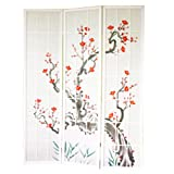 Paravento in legno con fiore di ciliegia bianca di 3 pannelli
