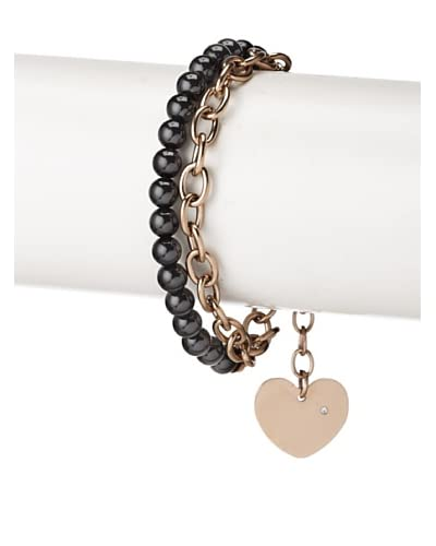 Chloe by Liv Oliver Black Rose Double Link Heart Charm Bracelet