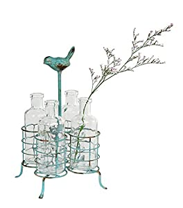 Creative Co-Op DE2353 Aqua Metal Holder with Four Glass Vases