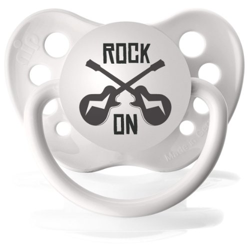 Personalized Pacifiers Rock on Guitar Pacifier in White - 1