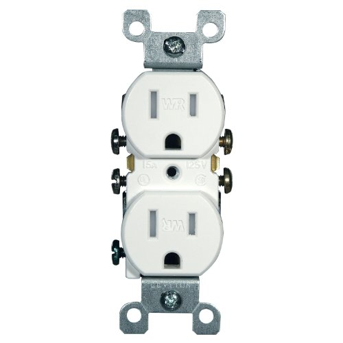 Leviton W5320-T0W 15 Amp, 125 Volt, Weather and Tamper Resistant, Duplex Receptacle, Grounding, Side and Quickwire, White (Levitron Electronic Dimmer compare prices)