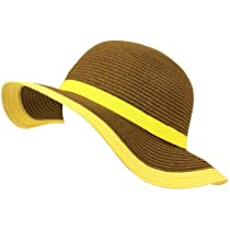 Kids 4-12 UPF 50+ Sun Beach Hat Floppy Adjustable Brown with Bright Natural