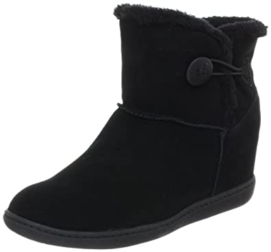 Skechers Women's Plus 3-Cozy Up Boot,Black,7.5 M US