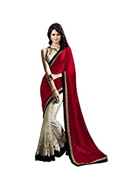 OMKAR CLUB Cream And Red Net Saree With Embroidery Work