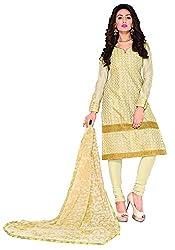 Manvaa Golden Chanderi Silk Embroidered Dress Material